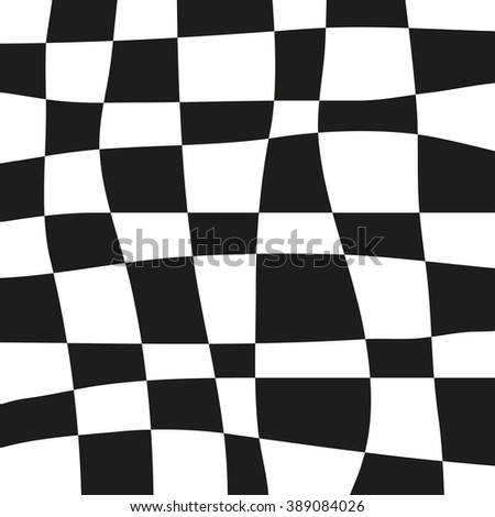 Curve linear square in the grid pattern, comic vector background. Black and white checkered plane - stock vector