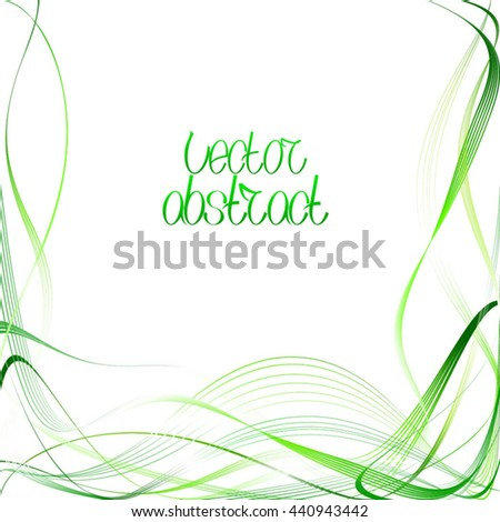 Curved Abstract Pattern. Green Lines and Emerald Waves. Vector Illustration