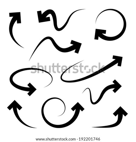 Curved arrows set. Full rotation. 360 degrees. Refresh, repeat symbol. Vector - stock vector
