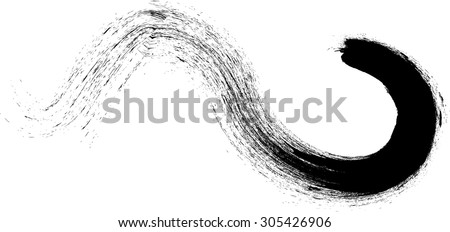 Curved Brush Stroke . Vector Logo Design Template . Twirl Grunge Shapes .