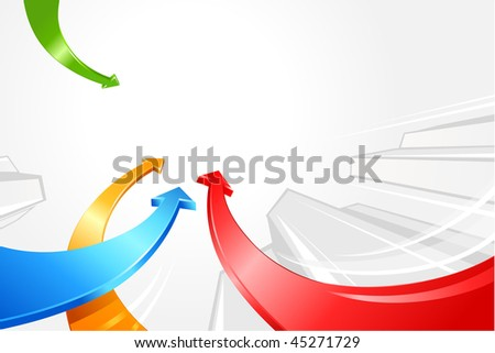 curved colored arrows - stock vector