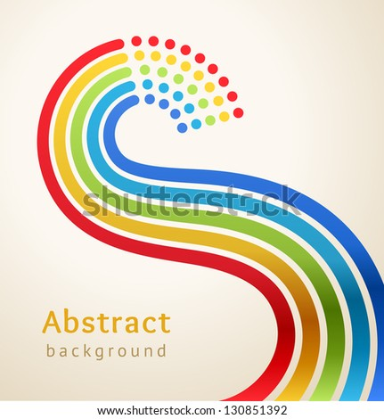 Curved colored stripes with circles, vector. Design template. - stock vector