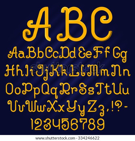 Curved faceted font. Alphabet of ornate capital and lowercase letters with digits and punctuation marks.