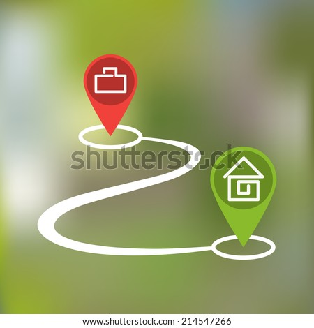 curved path with paragraphs home and work on a blurred background - stock vector