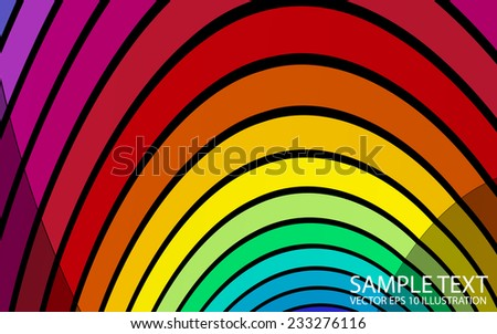 Curved rainbow lined background illustration - Vector colorful striped background template - stock vector