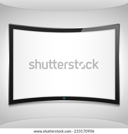 Curved screen on the wall, vector eps10 illustration - stock vector