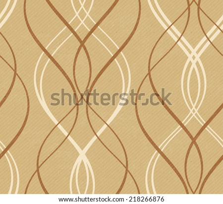 Curved stripes forming a decorative line pattern on a distressed paper or cardboard  like background with faint diagonal stripes in shades of earthy brown and beige. This wave pattern tile seamlessly. - stock vector