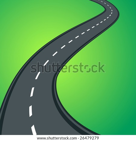 Curved vector asphalt road on green gradient grass background