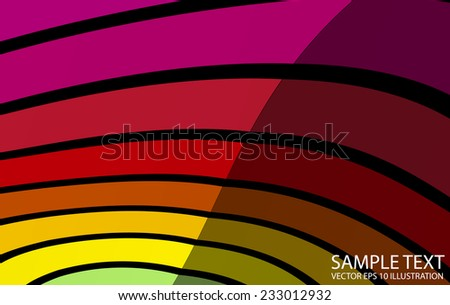 Curved vector lighted colorful background illustration - Colorful vector striped background  template - stock vector