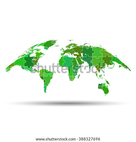 Curved world map puzzle - stock vector