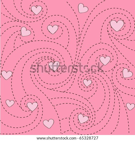 Curves and hearts background - stock vector