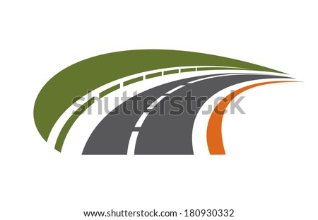 Curving tarred road logo with a safety barrier bordered by a green field receding into the distance towards vanishing point - stock vector