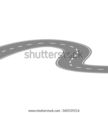 Curving winding road or highway with center cartoon illustration isolated on white - stock vector