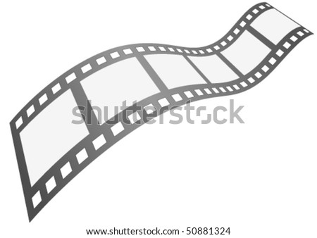Curvy blank film strip isolated on white background - stock vector