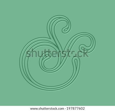 Custom ampersand. Hand drawn ampersand symbol for wedding invitation. Vector illustration - stock vector