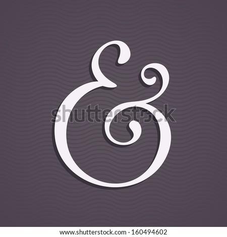 Custom ampersand with shadow for wedding invitation. Vector illustration - stock vector