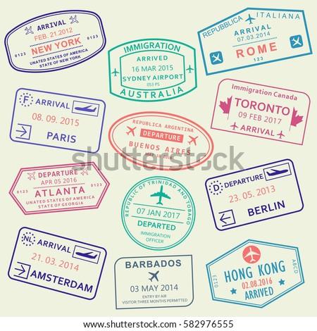 Custom travel passport stamp set international stock vector hd custom travel passport stamp set international stock vector hd royalty free 582976555 shutterstock thecheapjerseys Image collections