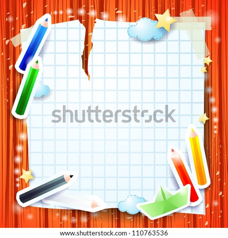 Custom background with colored pencils - stock vector