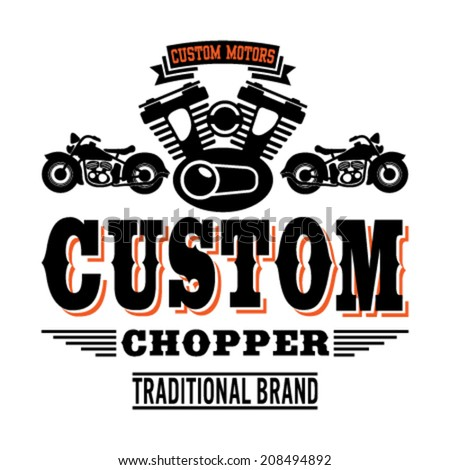 Custom Chopper. T-Shirt design for men. Vector version - stock vector