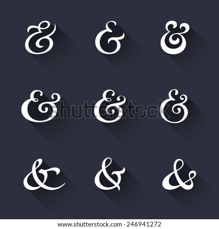 Custom decoration ampersands with long shadows. Polished hand drawn type. Vector illustration - stock vector