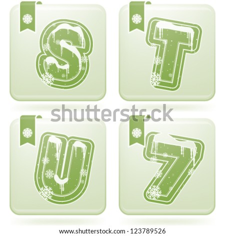 Custom made Winter and Christmas style (drawn from the scratch) green digits and capital letters icons set: S, T, U, 7.