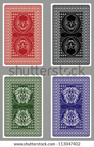 Custom Playing Card Designs/Vector Skulls and Lions - stock vector