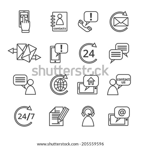 Customer care contacts in line style icons set of online and offline support services isolated vector illustration