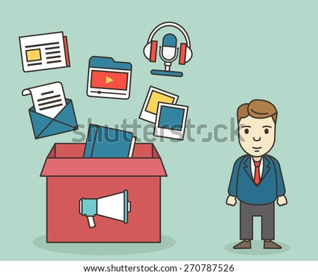 Customer contacts of electronic customer relationship management: mobile marketing, email marketing, video marketing, blogs, podcasts and digital marketing - vector illustration - stock vector