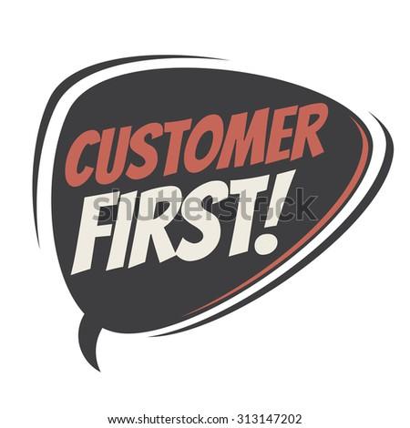 customer first retro speech balloon - stock vector