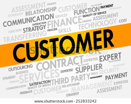Customer related items words cloud, business concept - stock vector