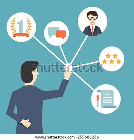 Customer Relationship Management. System for managing interactions with current and future customers  - vector illustration - stock vector