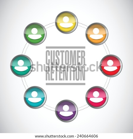 customer retention diversity network illustration design over a white background - stock vector