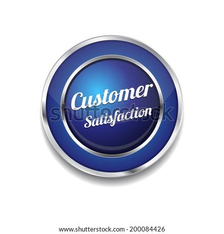Customer Satisfaction Blue Vector Icon - stock vector