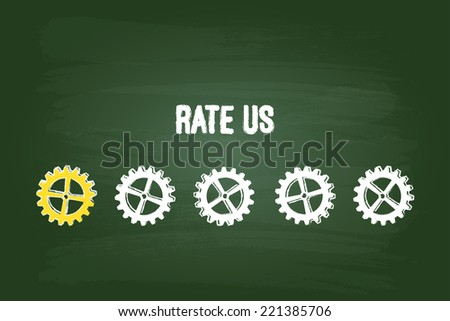 Customer Satisfaction Evaluation System With One Gear On Green Chalkboard - stock vector