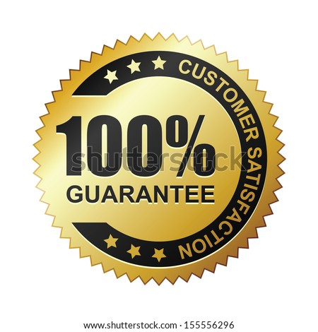 Customer satisfaction guaranteed gold badge - stock vector