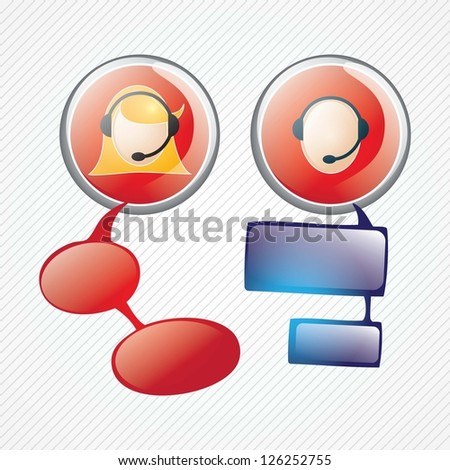 Customer service agent buttons, on grey background, vector illustration
