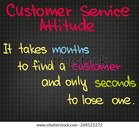 Customer Service attitude written in sketch words - stock vector