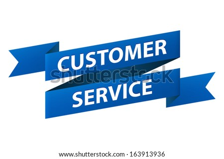 Customer service blue ribbon banner icon isolated on white background. Vector illustration - stock vector