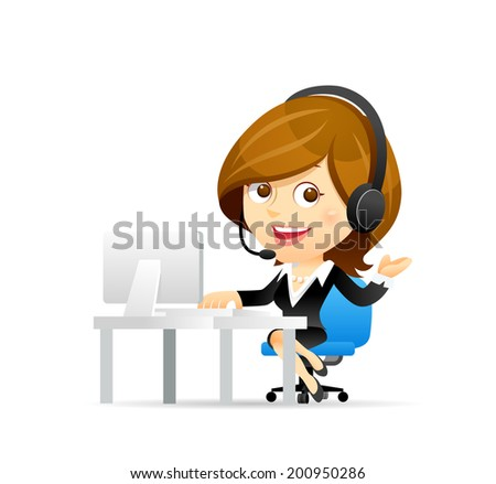 Customer service businesswoman - stock vector