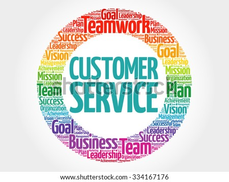 Customer Service circle stamp word cloud, business concept - stock vector