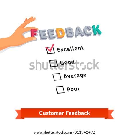Customer service feedback survey logo. Flat style vector illustration isolated on white background. - stock vector