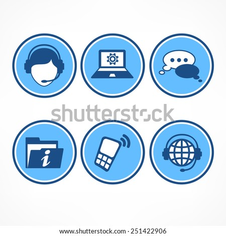 Customer service icons in blue on white, vector illustration - stock vector