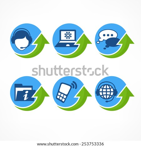 Customer service icons in blue with green arrow, vector illustration