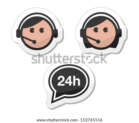Customer service icons set, labels - call center assistants - stock vector