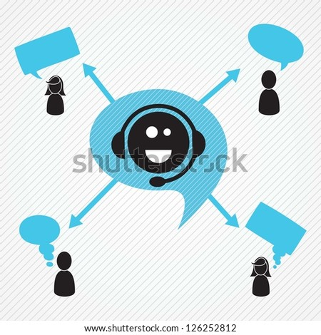 Customer service operator with headset and speech bubbles - stock vector