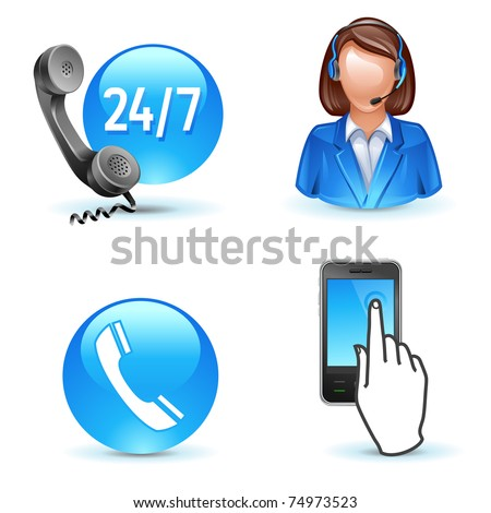 Customer service support - phone, call-center, mobile icons - stock vector