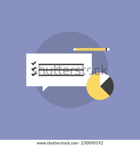 Customer service survey checklist with business graph and pencil. Flat icon modern design style vector illustration concept. - stock vector