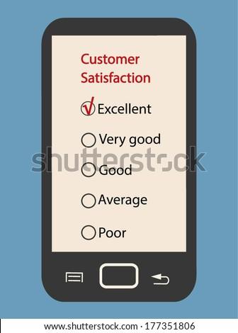 CUSTOMER SERVICE SURVEY on smartphone, flat design illustration vector - stock vector