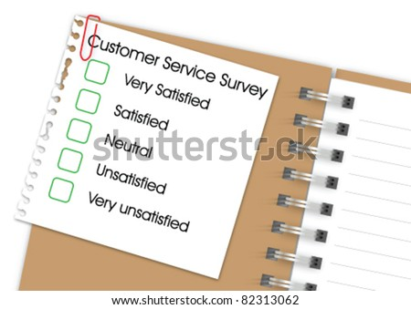 Customer service survey with notebook - stock vector