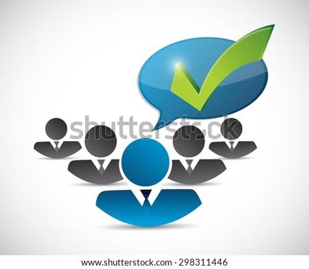 customer service team check mark message illustration design over white - stock vector